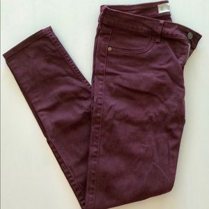 Abercrombie and Fitch Maroon skinny jeans- size 6
